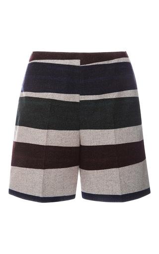 Medium carven print striped wool shorts