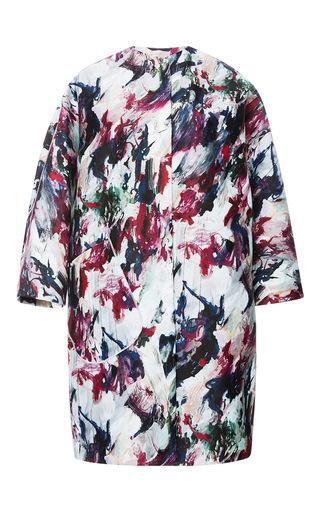 Carven Multicolored Mikado Print Coat by CARVEN Now Available on Moda Operandi