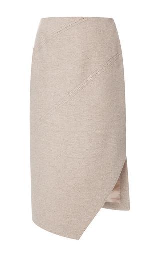 Medium carven brown asymmetric split wool skirt
