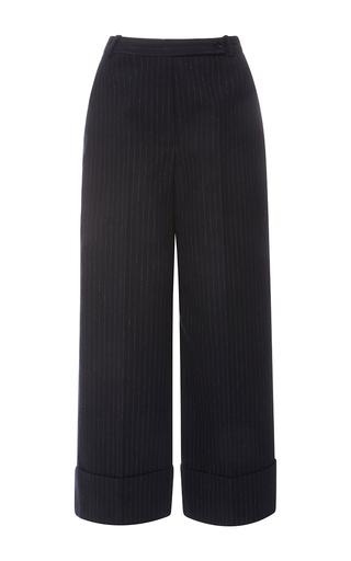 Medium carven blue tennis stripes wide leg cuffed pant