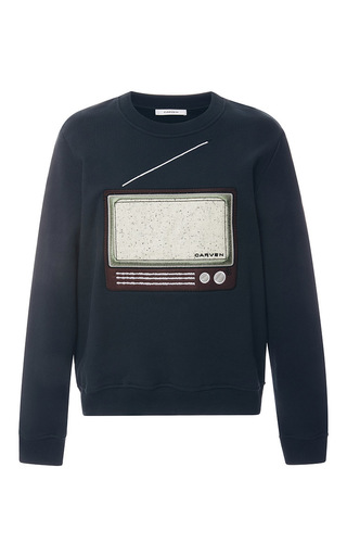 Medium carven blue television set sweatshirt