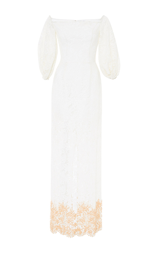 Medium madiyah al sharqi white off the shoulder lace dress with embroidery