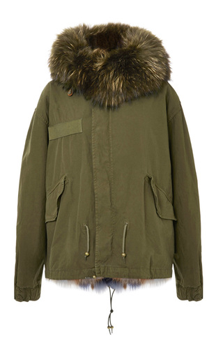 Slim Fit Dark Green Mini Parka With Army Rabbit by MR & MRS ITALY Now Available on Moda Operandi