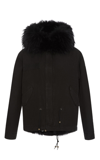 Medium mr mrs italy black army mini parka with black fox
