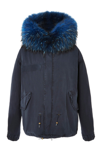 Medium mr mrs italy blue navy mini parka with bluette wool
