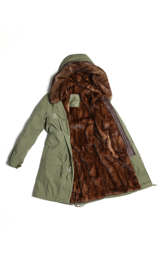 Regular Fit Long Army Parka With Natural Mink by MR & MRS ITALY Now Available on Moda Operandi