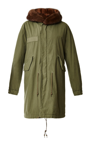 Medium mr mrs italy green army parka with natural mink