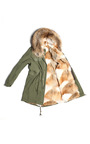 Slim Fit Long Army Parka With Natural Coyote by MR & MRS ITALY Now Available on Moda Operandi