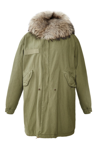 Medium mr mrs italy dark grey army parka with natural grey rabbit