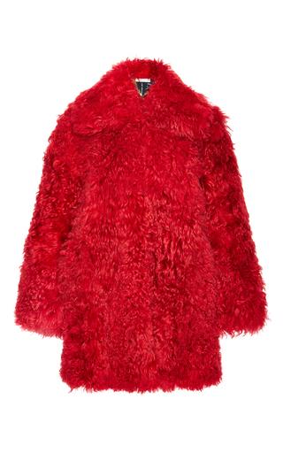 Medium philosophy di lorenzo serafini red shaved mongolian fur coat