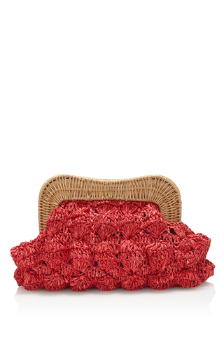 Medium kayu red monaco clutch