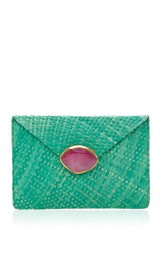 Medium kayu green green capri clutch