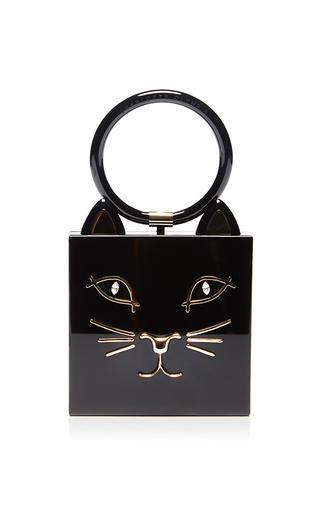 Medium charlotte olympia black kitty clutch with swarovski eyes