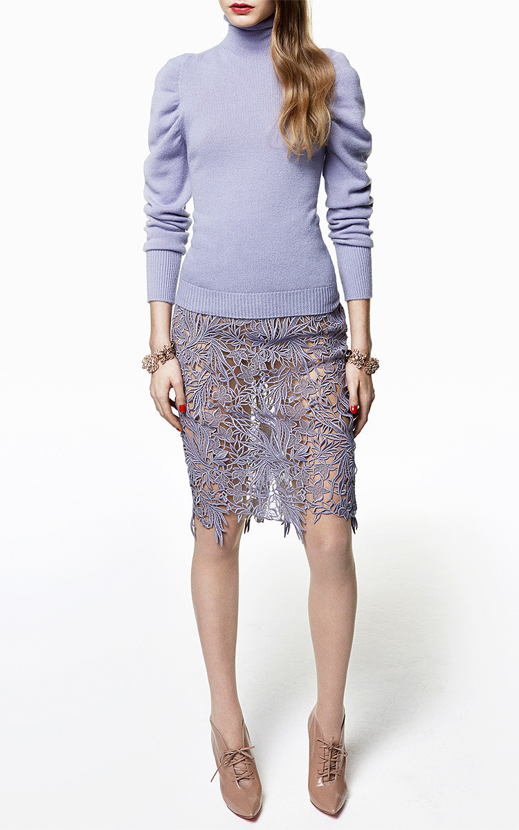 lavender macrame lace pencil skirt by blumarine moda