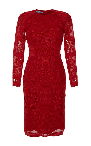 Medium blumarine red embroidered lace sheath dress