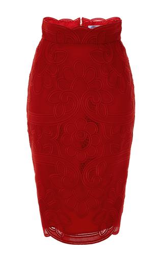 Medium blumarine red embroidered lace pencil skirt