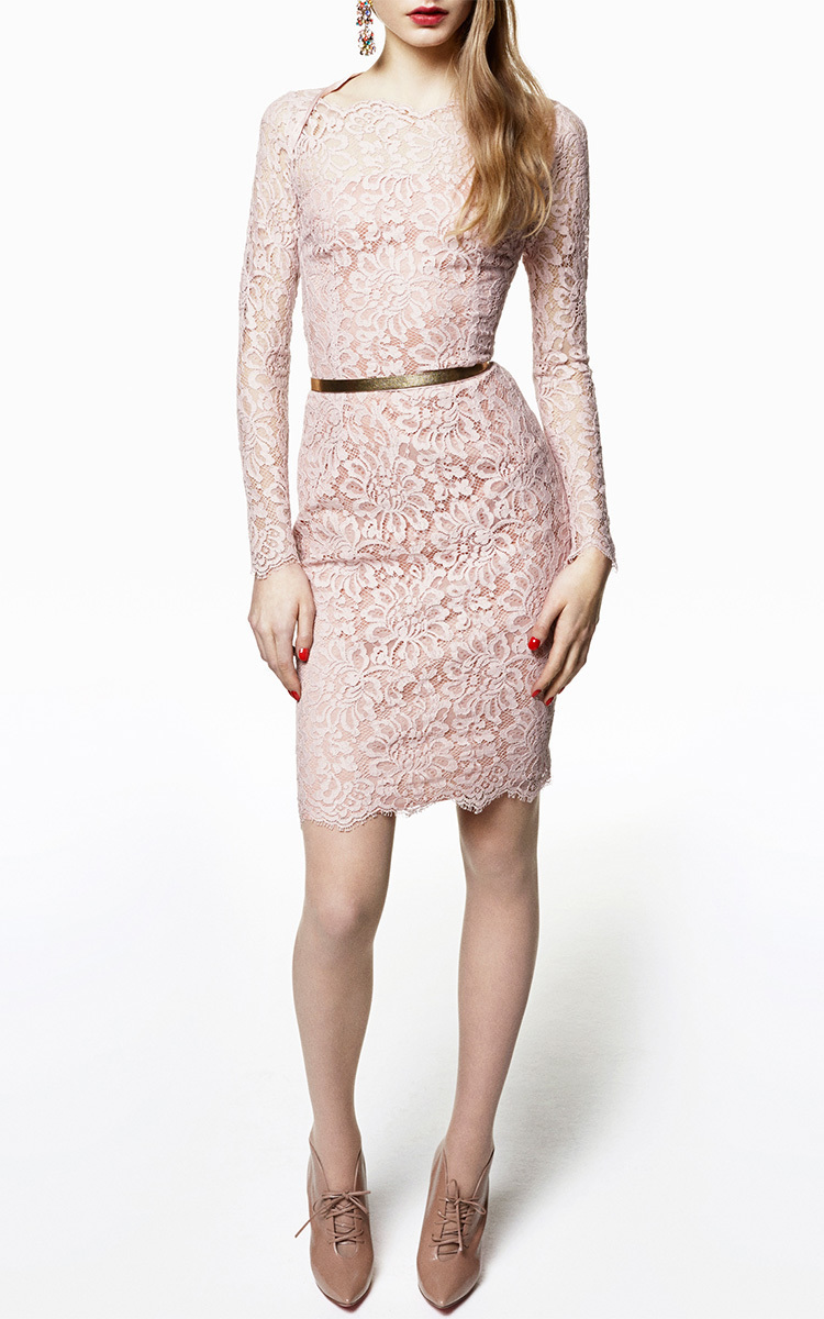Long Sleeve Lace Sheath Dress by Blumarine | Moda Operandi