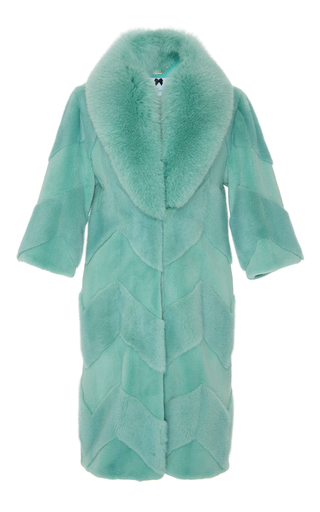 Medium blumarine green chevron mink coat with tonal shadow fox fur collar
