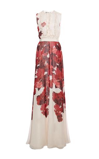 Medium giambattista valli white floral watercolor printed silk sleeveless gown