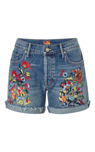 Medium mother denim medium wash loosey fray short