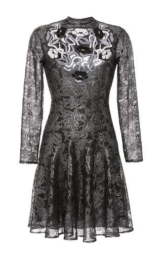 Medium christopher kane black art nouveau lace long sleeve dress
