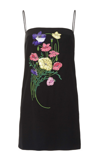 Medium christopher kane black floral embroidered strappy dress with sticker embellishments