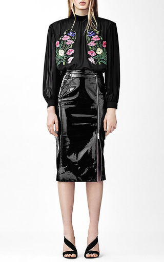 Patent Leather Pencil Skirt With Zip Detail by | Moda Operandi