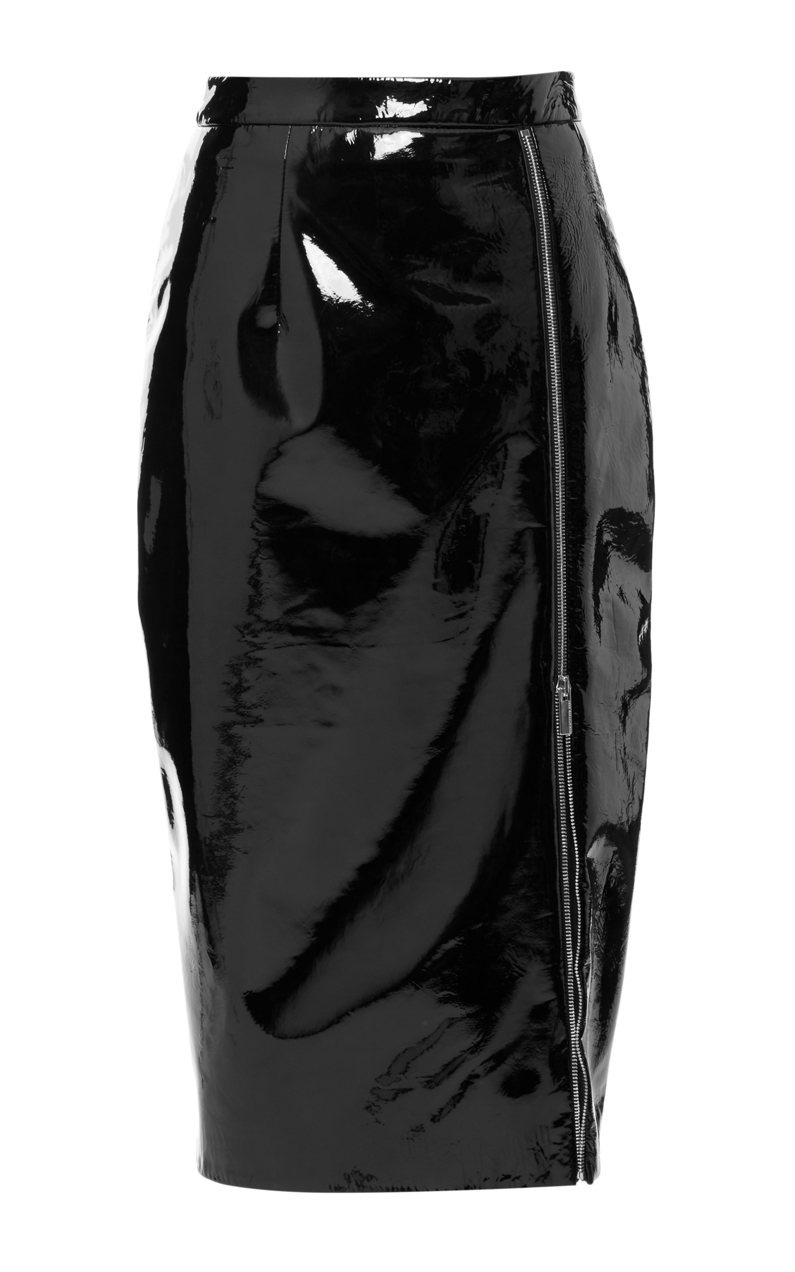 Patent Leather Pencil Skirt With Zip Detail By Moda Operandi