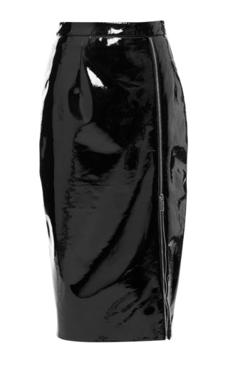 Medium christopher kane black patent leather pencil skirt with zip detail