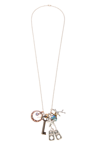 Medium rodarte multi mixed metal chain necklace with fresh water pearl and charm