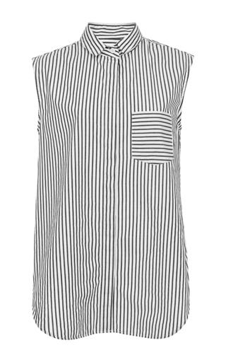 Medium band of outsiders stripe black barre stripe sleeveless shirt