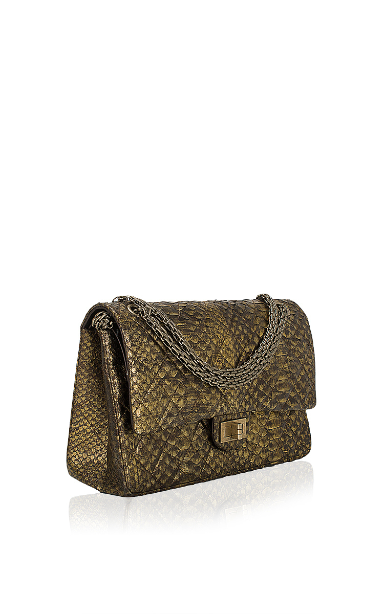 8bc32f0956 Hermes VintageChanel Gold Python Quilted 2.55 Reissue 227 Double Flap Bag