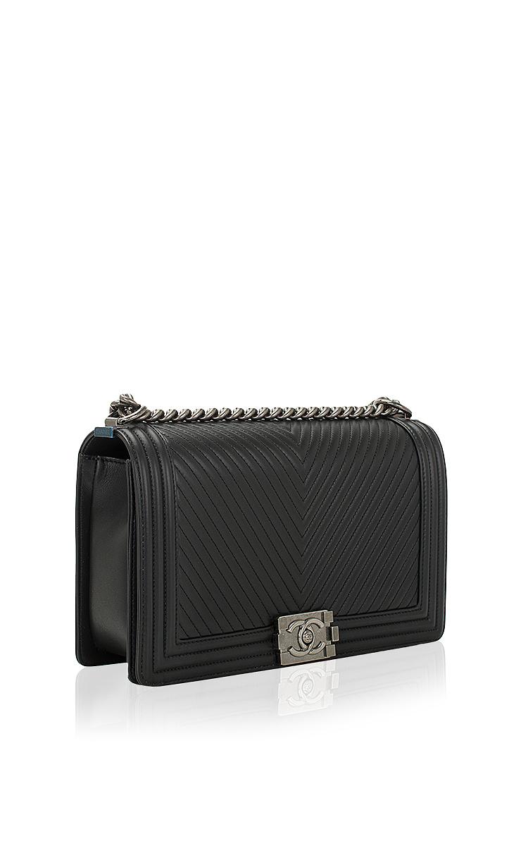 1f74da575e00 Hermes VintageChanel Black Herringbone Chevron Calfskin Large Boy Bag.  CLOSE. Loading. Loading