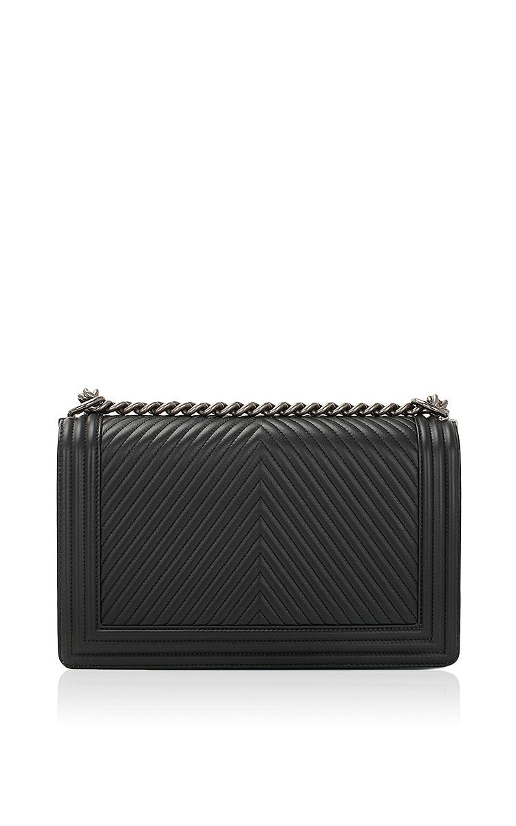 c3f3439e8439 Hermes VintageChanel Black Herringbone Chevron Calfskin Large Boy Bag.  CLOSE. Loading. Loading. Loading