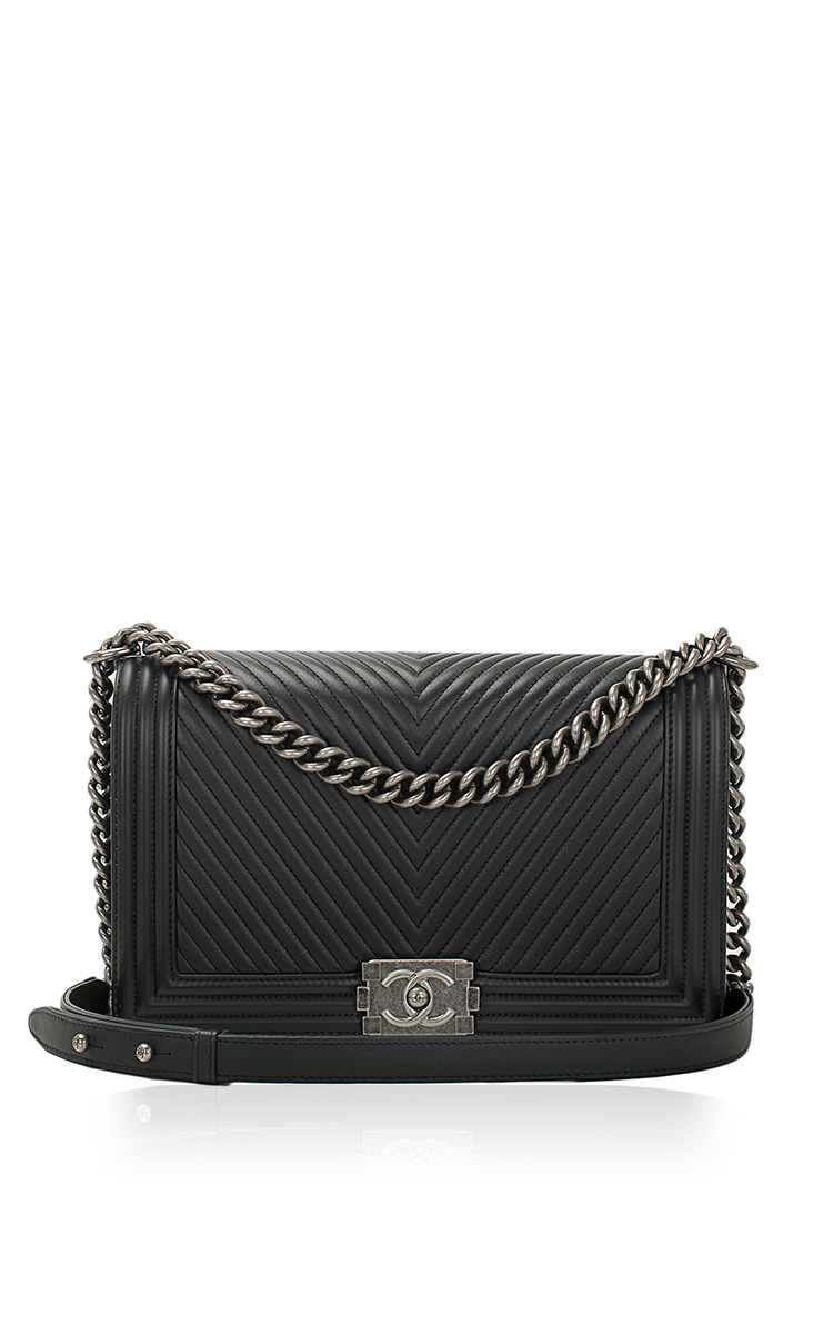 738835633ed6 Hermes VintageChanel Black Herringbone Chevron Calfskin Large Boy Bag.  CLOSE. Loading