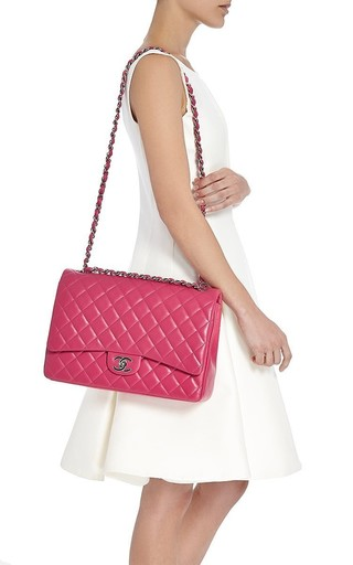 11d0e17604ec92 Ended · Hermes VintageChanel Fuchsia Pink Quilted Lambskin Maxi Classic  2.55 Double Flap Bag