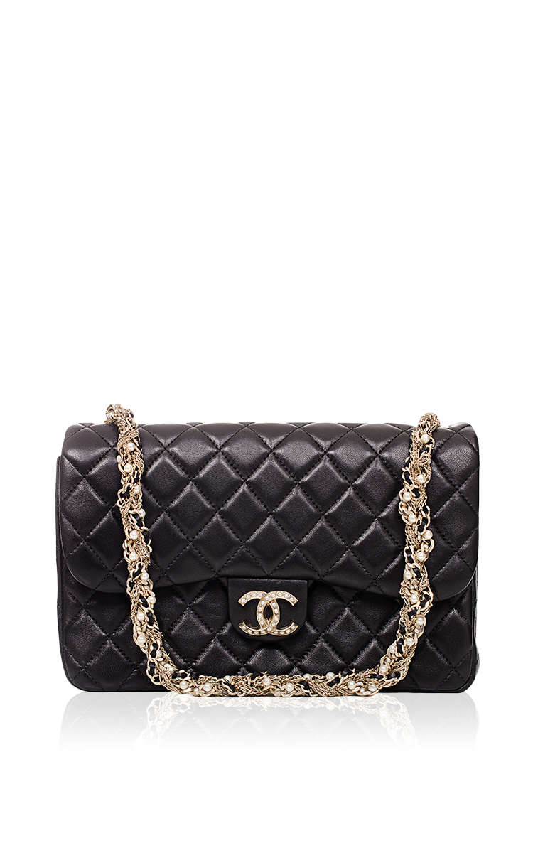 64d95b3aa8b7 Hermes VintageChanel Limited Edition Black Westminster Pearl Flap Bag.  CLOSE. Loading