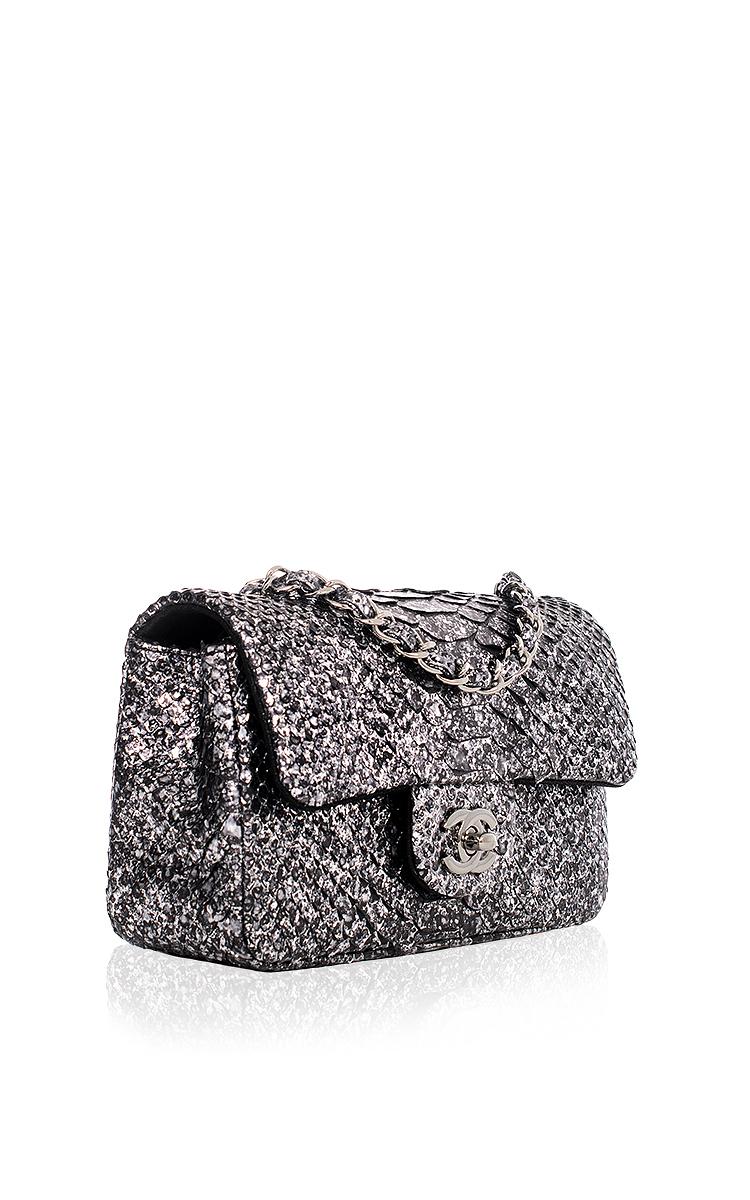 243d57a47033 Hermes VintageChanel Silver Python Mini Classic 2.55 Flap Bag. CLOSE.  Loading. Loading