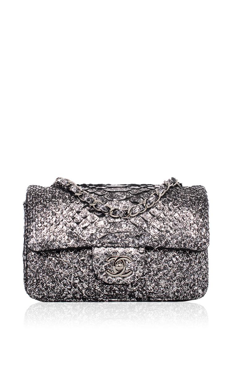 006b745be31b Hermes VintageChanel Silver Python Mini Classic 2.55 Flap Bag. CLOSE.  Loading