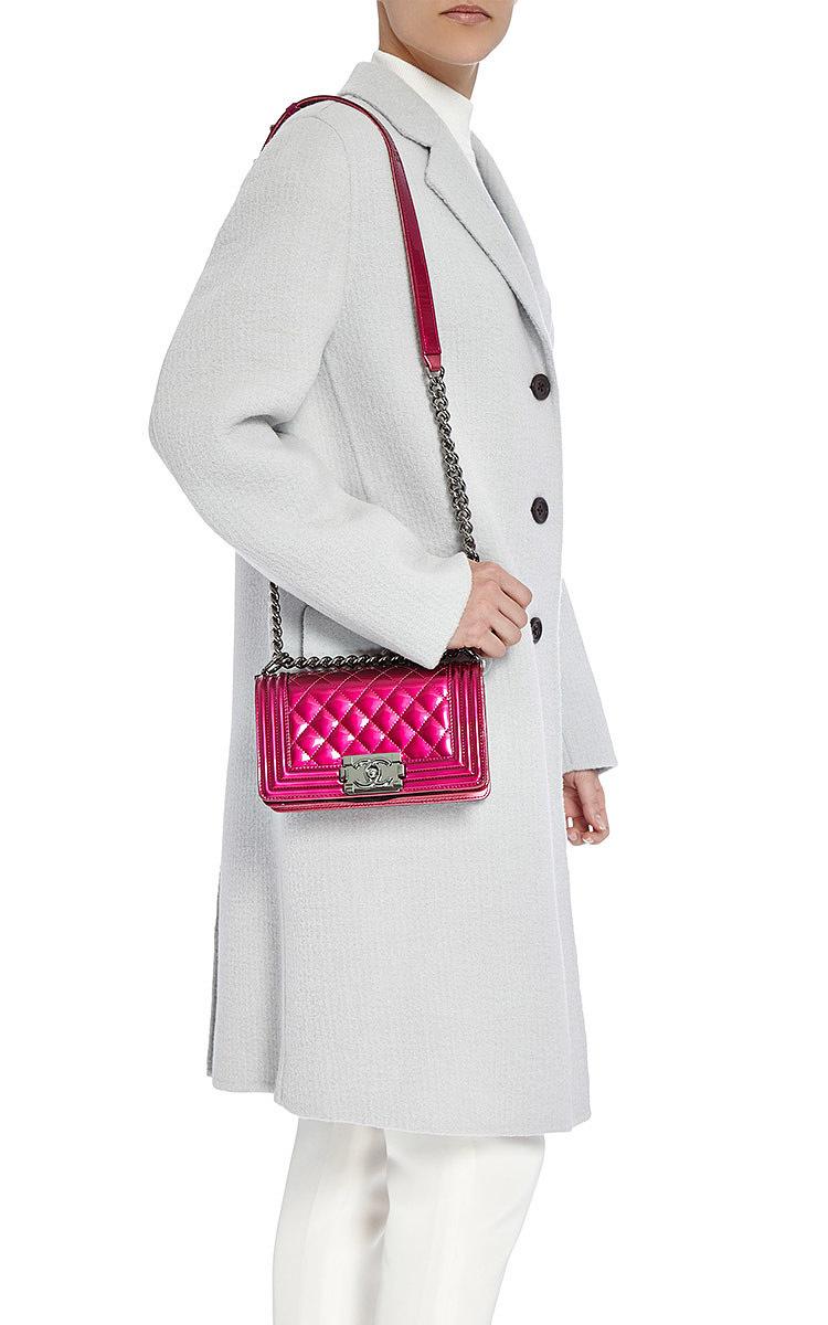04168576f8b530 Hermes VintageChanel Fuchsia Pink Metallic Patent Small Boy Bag. CLOSE.  Loading