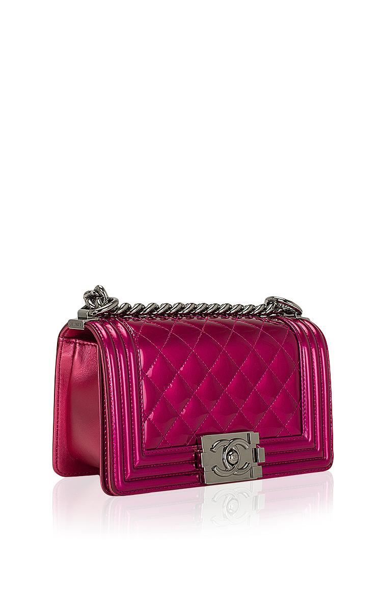353681f7378d6b Hermes VintageChanel Fuchsia Pink Metallic Patent Small Boy Bag. CLOSE.  Loading. Loading. Loading