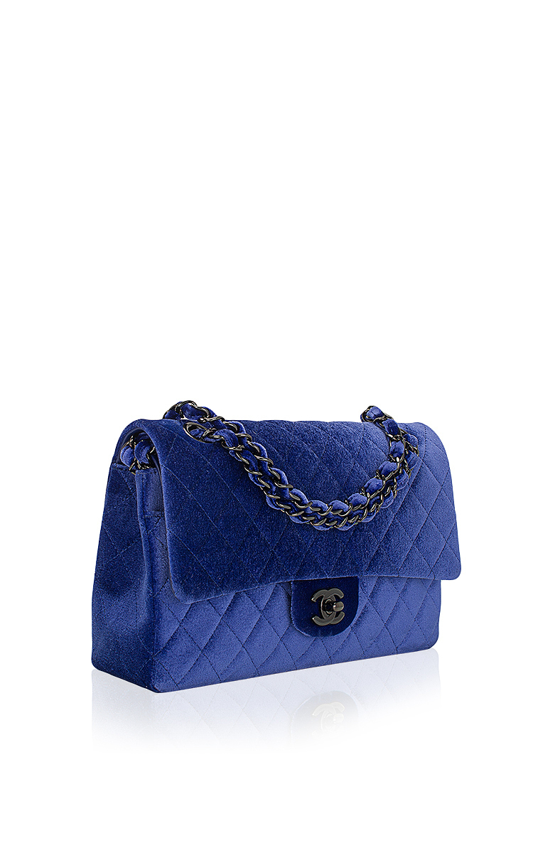 e5d444b951656d Chanel Electric Blue Quilted Velvet Large Classic 2.55 Double Flap ...