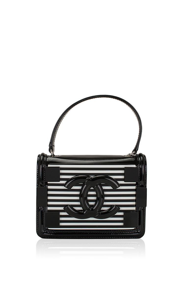 343b97ed490a Hermes VintageChanel Black And White Striped Patent Boy Brick Bag. CLOSE.  Loading