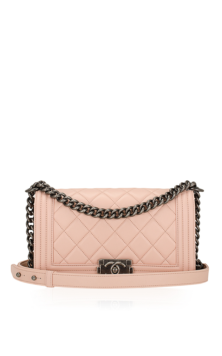 8e829948325557 Chanel Nude Pink Quilted Calfskin Medium Boy Bag by Hermes Vintage ...