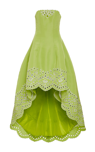 Medium oscar de la renta lime green cut out hem strapless gown