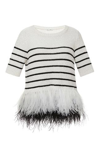 Medium oscar de la renta white feathered bottom stripe sweater