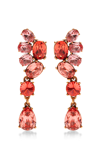Medium oscar de la renta red assymetrical crystal c earring in granita