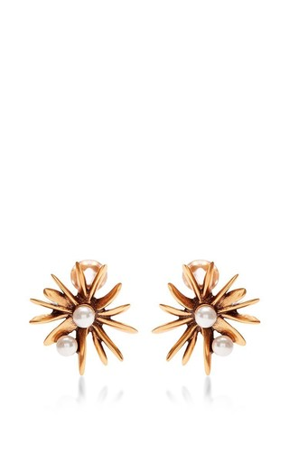 Medium oscar de la renta gold starburst button c earring