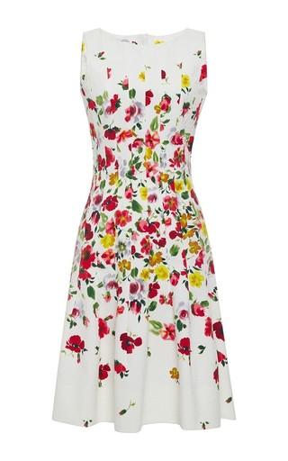 Medium oscar de la renta multi floral print sleeveless pleated hem dress