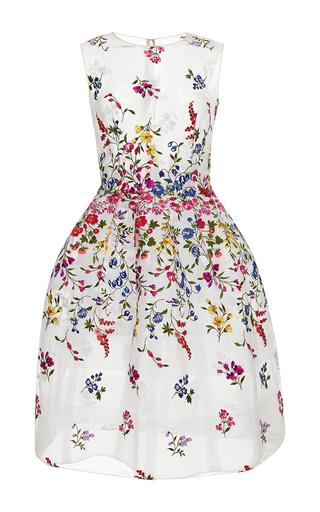 Medium oscar de la renta multi sheer embroidered cocktail dress